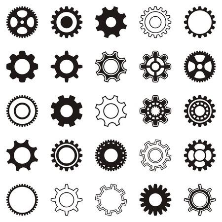 Verschillende zwarte tandwiel pictogrammen op witte achtergrond