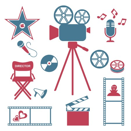Red and blue retro movie and music icons