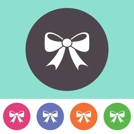 christmas bow: Single vector bow icon on round colorful buttons Illustration