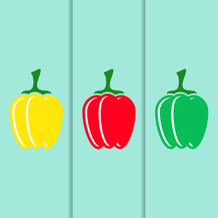 yellow vector: Red green yellow vector sweet pepper icons Illustration