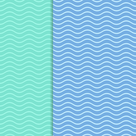 sea   water: Blue vector vintage card background with wavy line