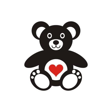Cute black teddy bear icon with heart isolated