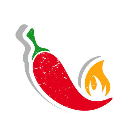 Grunge vector red hot chilli pepper label isolated