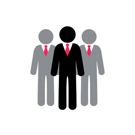 Colorful vector businessman team icon isolated on white