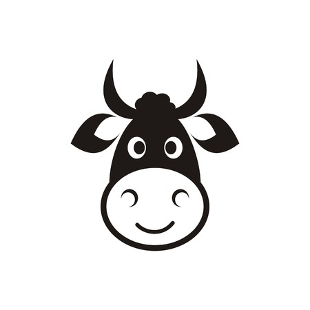 one animal: Cute black vector cow head icon on white
