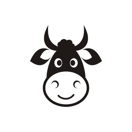 Leuke zwarte vector koe hoofd pictogram op wit Stock Illustratie