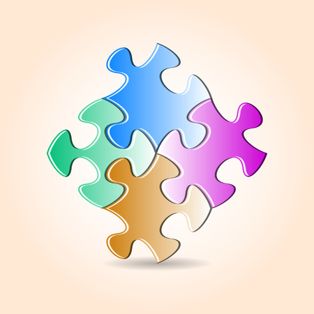 are joined: Four colorful puzzle pieces joined together with shadow