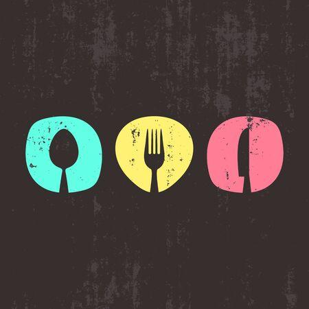 grunge cutlery: Vector grunge abstract restaurant menu design with cutlery