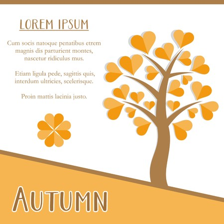 Autumn season greeting card design with orange tree Vector