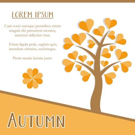 orange tree: Autumn season greeting card design with orange tree