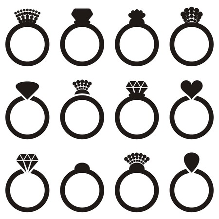 coeur diamant: Engagement de vecteur noir ou anneau de mariage ic�nes isol�s