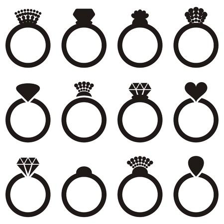 Geïsoleerde zwarte vector verloving of trouwring pictogrammen