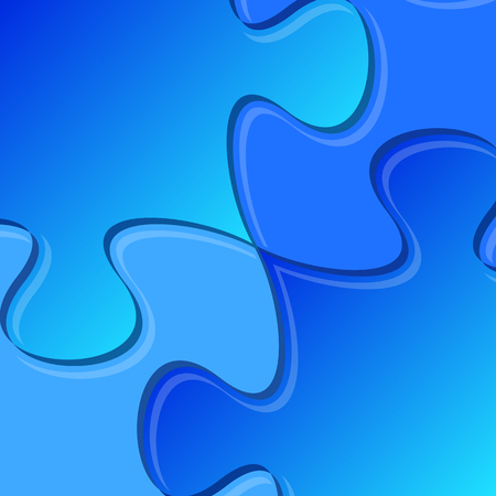 are joined: Blue puzzle pieces joined together detail vector illustration Illustration