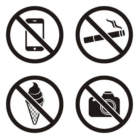 Four vector black circle prohibited signs on white Illustration