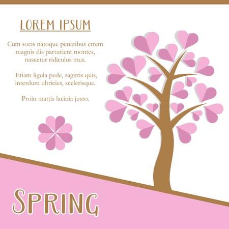 pink tree: Spring season greeting card design with pink tree