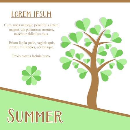 Summer season greeting card design with green tree Vector