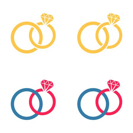 are joined: Vector colorful different wedding rings pairs joined together Illustration