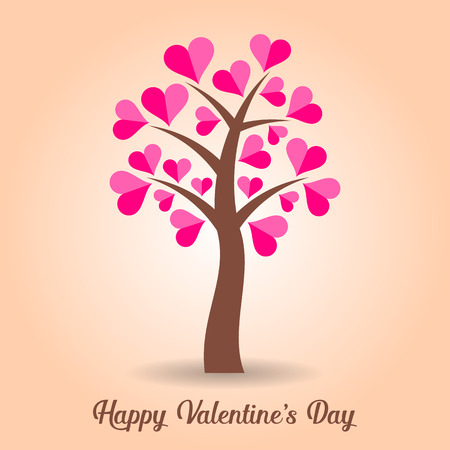 Vector valentine card with abstract pink heart tree Vector