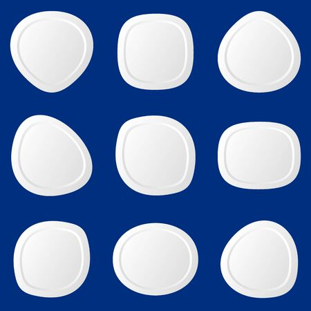 White original irregular round web buttons isolated Vector
