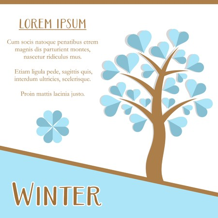 Winter season greeting card design with blue tree Vector