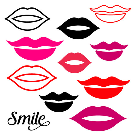 Woman lips design elements collection vector illustration