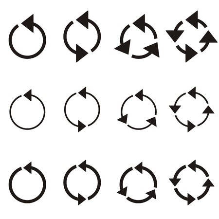 application recycle: Black rotating circle arrows collection isolated on white Illustration