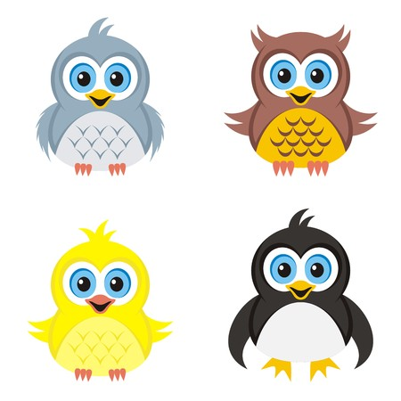 pigeon owl: Colorful vector owl pigeon chicken and penguin illustrations Illustration