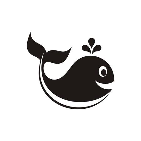 Cute black vector whale icon on white background Vector