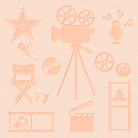 walk of fame: Retro vector movie and music icons collection