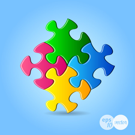 are joined: Vector colorful puzzle pieces joined together with shadow Illustration