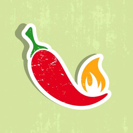 burning paper: Vector red hot chilli pepper label grunge design