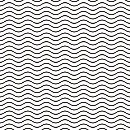 검은 원활한 물결 모양의 선 패턴 벡터 일러스트 레이 션 일러스트