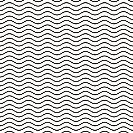 Black seamless wavy line pattern vector illustration Vectores