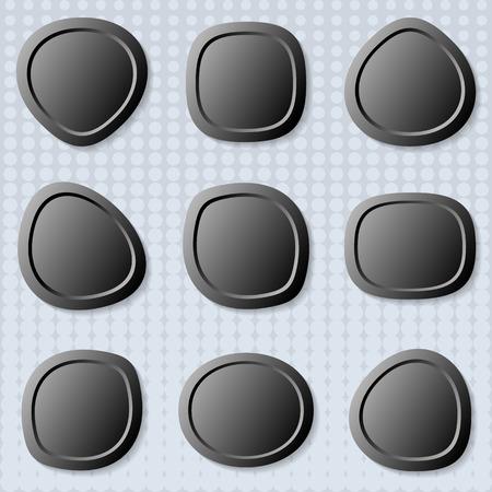 original circular abstract: Dark original irregular round web buttons with shadows