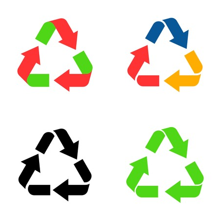 Different vector colorful recycle symbol icons isolated Vector
