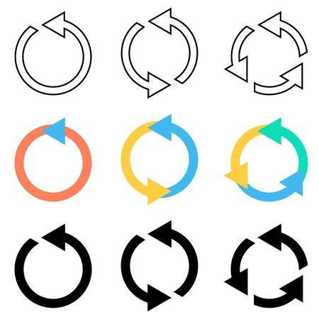 refrescarse: Flechas Vector círculo de actualización ajustado reciclaje de los iconos de recarga Vectores