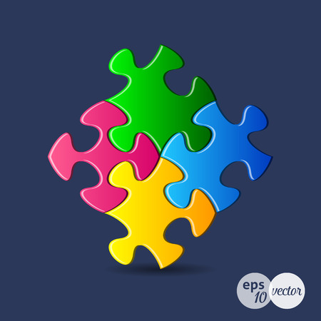 are joined: Vector colorful puzzle pieces joined together on blue Illustration
