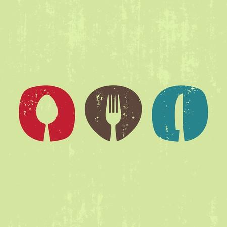 grunge cutlery: Vector grunge restaurant menu design with cutlery symbols Illustration