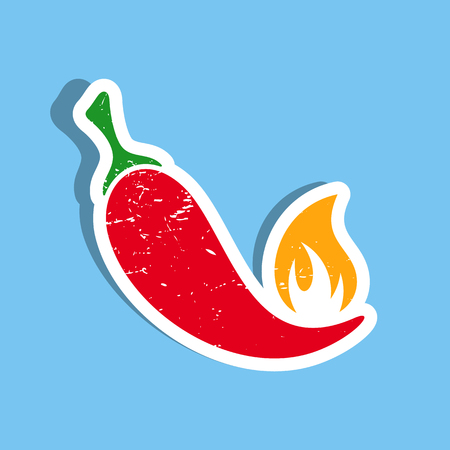 capsaicin: Vector red hot chilli pepper label on blue
