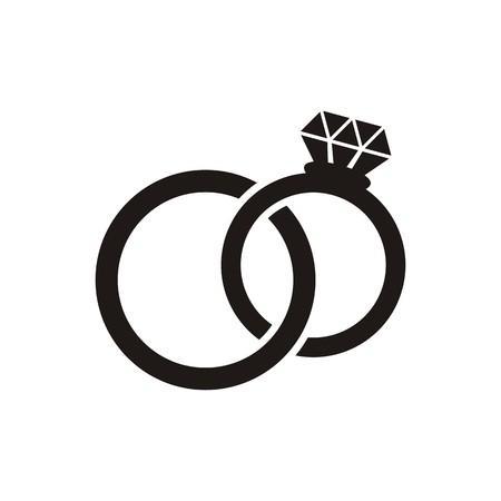 블랙 벡터 결혼 반지 아이콘 흰색으로 격리