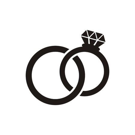 Black vector wedding rings icon isolated on white Illustration
