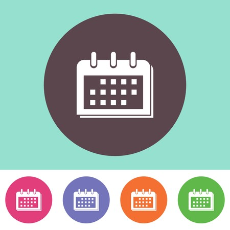 Single vector calendar icon on round colorful buttons Illustration