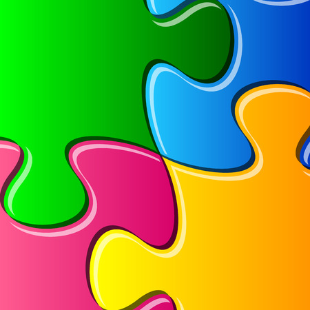 are joined: Vector colorful puzzle pieces joined together detail Illustration
