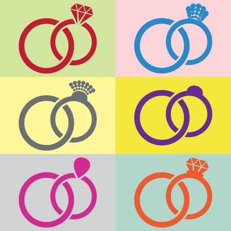 are joined: Vector wedding rings pairs joined together retro package Illustration