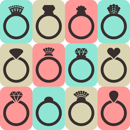 silver ring: Vector engagement or wedding rings in colorful squares