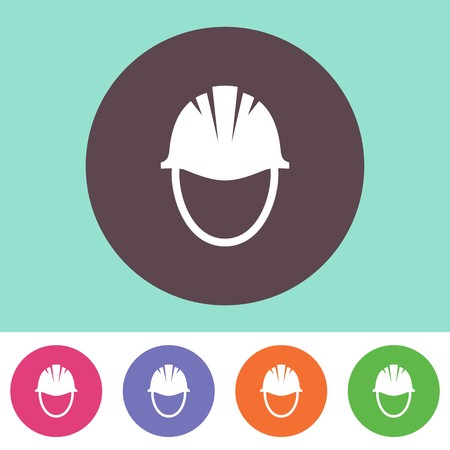 hard hat icon: Vector hard hat icon on round colorful buttons Illustration