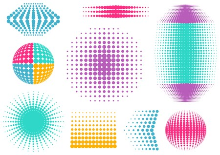 Colorful abstract vector halftone design elements collection Vector