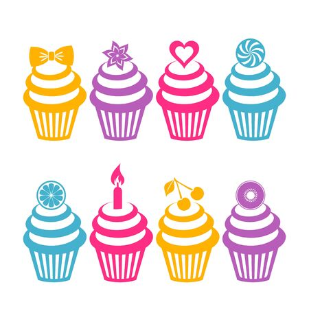 Different vector colorful cupcake silhouettes on white background Vector