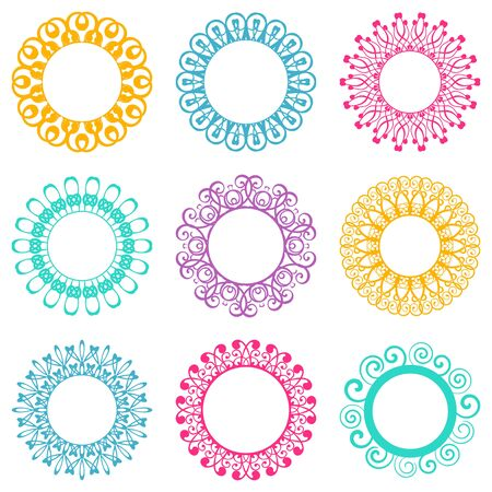 Set of beautiful colorful napkin lace design elements Vector