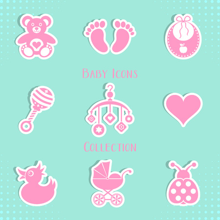 Vector baby icons collection isolated on blue background Vector
